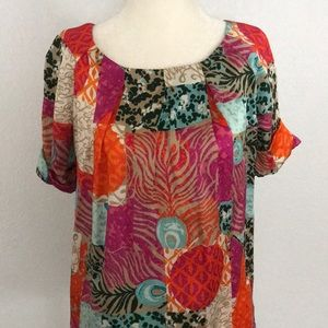 Lilly Pulitzer Multiprint 100% Silk Blouse